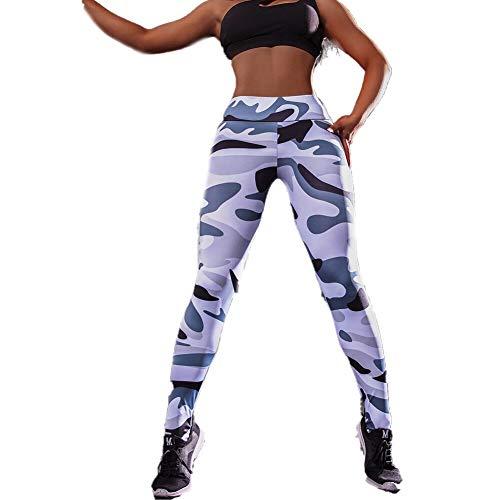 Opprxg Pantalones de Yoga para Mujer Estampado de Camuflaje Ejercicio de Fitness único Deportes Leggings para Correr Sexy Push-up Gym Wear Pantalones elásticos Delgados