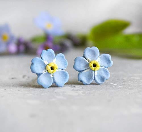 Vergissmeinnicht Ohrstecker - Fimo - Hell blaue Ohrstecker - Frühling - Blumen - kleine Ohrstecker - Polymer Clay