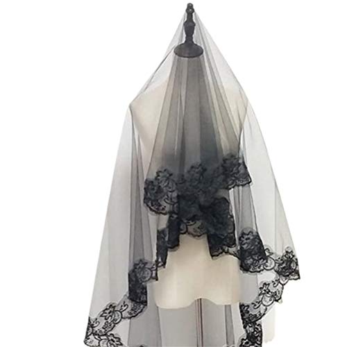 Velo de Encaje Negro, Tocado de Halloween Chica Elegante Tulle Cosplay Styling Accesorios para el Cabello Velo de Encaje Bordado Negro Velo de Novia