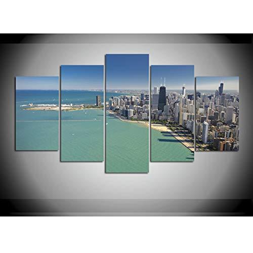 YDBDB 5 stuks gedrukt canvas schilderij Sea Shore Chicago City Skyline kamerdecoratie poster ingelijste muurkunst ohne gerahmt 30 x 50 30 x 65 30 x 80 cm.