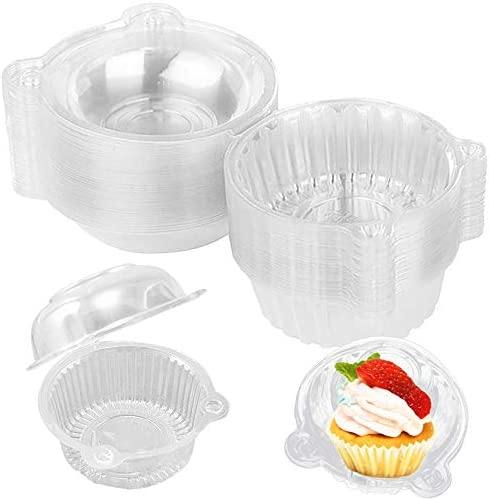 50 Pack Single Individual Cupcake Containers Clear Plastic Cupcake Carriers Muffin Dome Holders product image