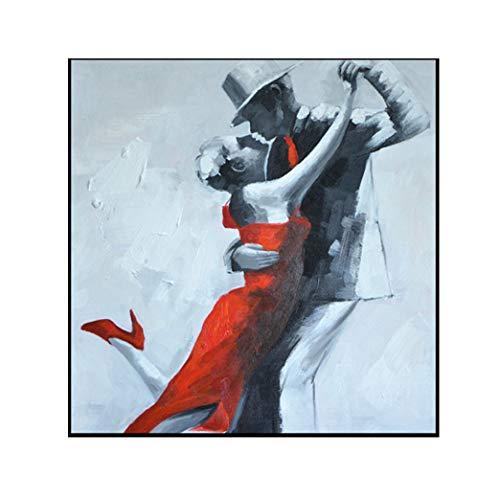 ZSLMX Modern Abstract Modern Dubbel Dansende Mensen Olieverfschilderijen, 100% Handbeschilderd Zwart Wit Mannen En Rode Rok Ms Op Canvas Wall Art Decor Schilderij Voor Woonhuis Muurdecoraties