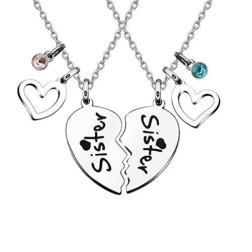 """Collana da donna a forma di cuore, 2 pezzi, per sorelle, per sorelle, con scritta """"Big Sis Little Sis Best"""
