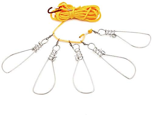 Milepet 5 in 1 Stainless Steel Fishing Stringer Live Fish Lock,Steel Ropes...