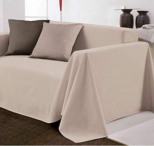 Biancheria Store - Tela cubre-sofá decorativa monocolor en 2 tamaños – Fabricado en Italia Gran Foulard multiusos para cubrir sofás – Medidas 160 x 280 cm – Color beige