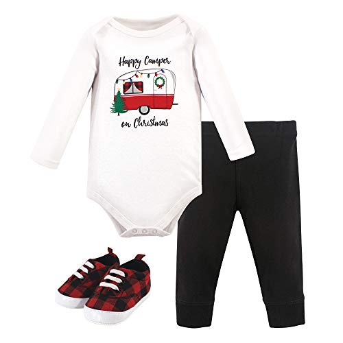 Hudson Baby Unisex Baby Cotton Bodysuit, Pant and Shoe Set, Christmas Camper, 12-18 Months