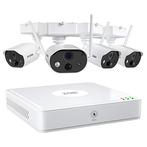 ZOSI C301 Wire Free Cameras Security System Outdoor 4Channel NVR with 4pcs 1080p Rechargeable Battery Powered Security Cameras,80ft Night Vision,PIR Motion Detection, 2-Way Audio, 32GB SD Card