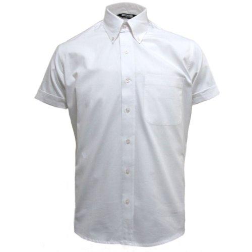 Relco - Herren Oxford-Hemd mit kurzen Ärmeln - Button-Down-Kragen - Weiß - L