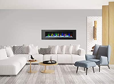 Cambridge CAM72WMEF-2BLK 72 In. Wall-Mount Electric Fireplace in Black with Multi-Color Flames and Driftwood Log Display