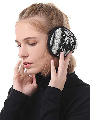 Durio Winter Ohrenschützer Damen Ohrenwärmer Herbst Warme Earmuffs Verstellbar Ear Cover Schwarz u. Weiß
