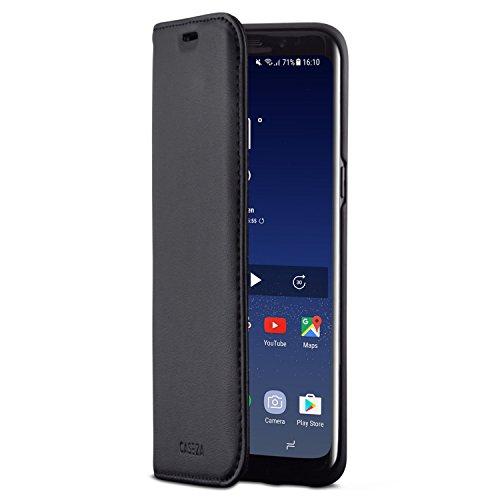 """CASEZA Samsung Galaxy S8 Funda Negro Tipo Libro Piel PU Case Cover Carcasa Plegable Cartera Oslo Piel Vegana Premium para Galaxy S8 (5.8"""") Original - Ultrafina con Cierre Magnético"""