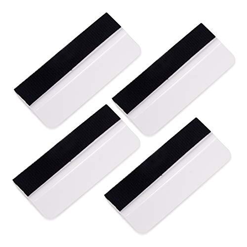 Winjun 4 Stück 10 × 4,5 cm Rakel mit Filzkante Filzrakel Folienrakel für Verklebung von Autofolie Wandtattoo Möbelfolie Fensterfolie Werkzeug