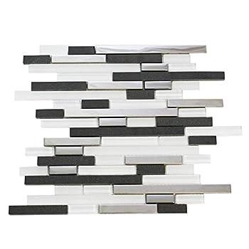 Vima - Mosaic Backsplash - Stainless Steel Grey Stone White Glass - 12  x 12  Sheet  $12.50/sf