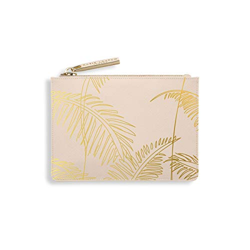 Katie Loxton Gold Print Womens Small Vegan Leather Zippered Card Holder Wallet - Pink - 3.5 x 5 x 0.75