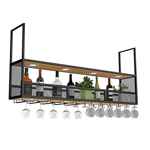 Pkfinrd - Pared decorativa en bastidor con Wine Rack multifunción con focos, soportes de pared de metal y gafas de almacenamiento para fines comerciales y domésticos (60 x 30 x 80 cm)