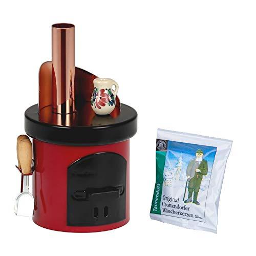 Bütic Räucherofen -Küchenherd mit Ofenbesteck- Räucherkerzenhalter Räucherkerzen, Räucherfigur:Küchenherd rot