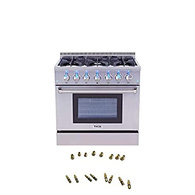 """Thor Kitchen 36"""" Freestanding Gas Range with 5.2 cu. ft. Electric Convection Oven - with 6 Burners, Convection Fan - With LPG Conversion Kit Stainless Steel - With LPG Conversion Kit"""