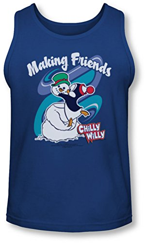 Chilly Willy - - Hommes Making Friends Tank-Top, Bleu - Bleu marine, Small