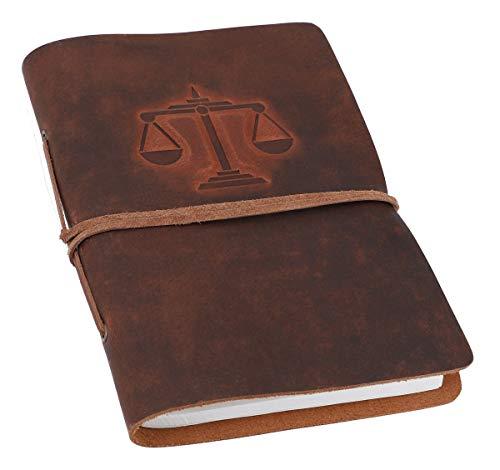 Gusti Notitieboek leer - dagboek reisdagboek Bullet Journal schetsboek ongelinieerd klassiek leer DIN A5 bruin sterrenbeeld weegschaal