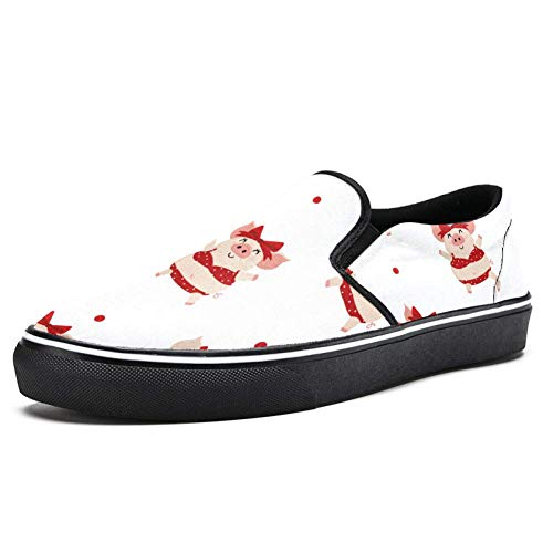 TIZORAX Sommer mit geschnittenem Schweinchen in Rot Bikini Slip on Loafer Schuhe für Herren Jungen Mode Canvas Flach Bootsschuh, Mehrfarbig - mehrfarbig - Größe: 36 2/3 EU