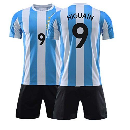 XH Kinderfußbälle Trikot -Set Gonzalo Higuaín # 9, Trainingskleidung Kindergröße, 16-28 (Color : Blue, Size : Children-24)
