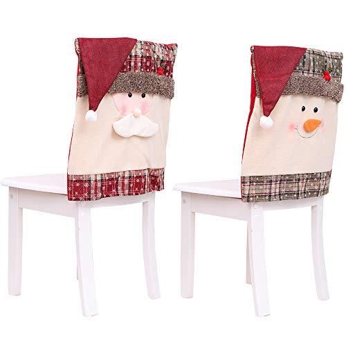 ZEL Funda para Silla navideña, Funda para Silla de muñeco de Nieve Santa, Proceso de Corte Tridimensional de Dos Piezas, Adecuado para decoración Familiar y Vacaciones
