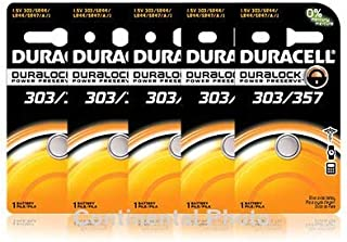 5 Duracell 357/303 A76 PX76 SR44W/SW LR44 AG13 Silver Oxide Battery