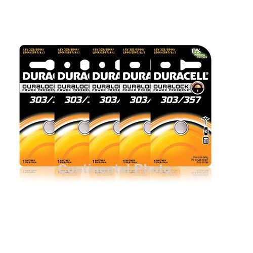 5 Duracell 357 303 A76 PX76 SR44W SW LR44 AG13 Silver Oxide Battery