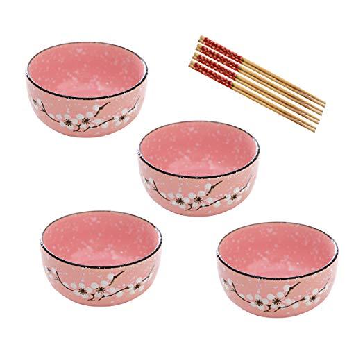 Tianher Cuencos de Cereal de Porcelana Rosa 4 Piezas Tazones De Sopa con Palillos para Desayuno Sopa Vajilla de Estilo Japonés Cereales Pasta Fideos Aperitivo