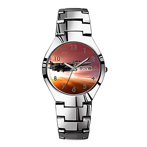 Relojes para hombre de acero plateado banda superior marca impermeable Japón cuarzo reloj de Navidad hombres negocios reloj Jaguar relojes