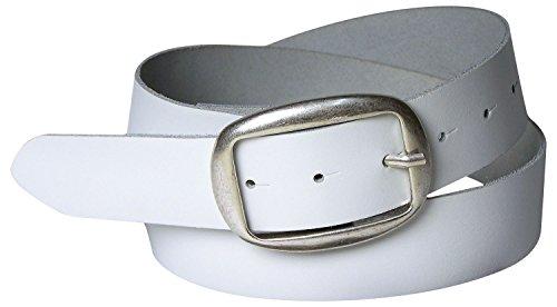 FRONHOFER Damengürtel, 4 cm, ovale Gürtelschnalle altsilber, modischer Ledergürtel 18152, Größe:Körperumfang 85 cm / Gesamtlänge 100 cm, Farbe:Weiß