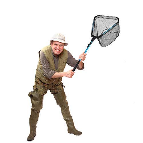 Foldable Fishing net for Steelhead,Salmon,Kayak,Catfish,Bass,Trout Fishing,Telescopic Extending Fish Landing net and Durable Soft Mesh for Catching&Releasing (30.71inch Fixed Pole Fishing net)