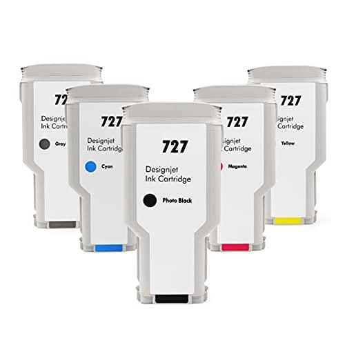 VDFHB 727 Paquete de Combo de Cartucho de Tinta de Plotter, Compatible para HP T920 T1500 T2500 T930 T1530 T2530 Tinta Plotter Combo b