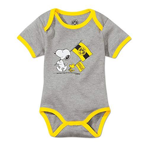 Borussia Dortmund Baby BVB-Snoopy-Babybody, Grau (Silbergrau), 74/80