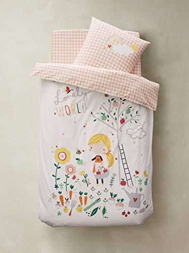 Vertbaudet Kinder Bettwäsche-Set,Lovely World, Bio Kollektion weiß/Mehrfarbig Bedruckt 140X200 - Kissen 50X75