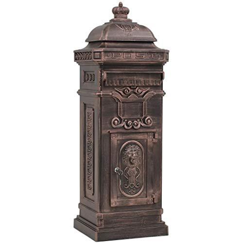 vidaXL Standbriefkasten Aluminium Vintage Rostfrei Bronze Säulen Briefkasten