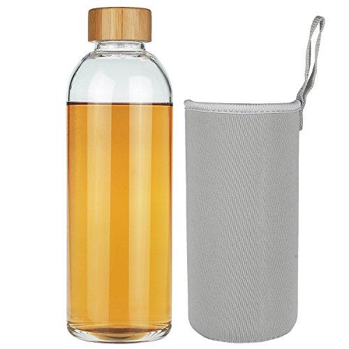 SHBRIFA Borosilikat Glas wasserflasche, Glass Trinkflasche mit Neopren-Hülle und Auslaufsicherem Bambusdeckel, BPA-frei 350ml / 550ml / 1000ml