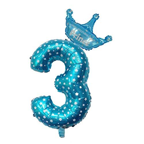 Partido del Globo De 16 Pulgadas Número Número Globos De Cumpleaños Juegos De Disfraces Papel De Aluminio Mylar Globos Digitales (número Azul 3)