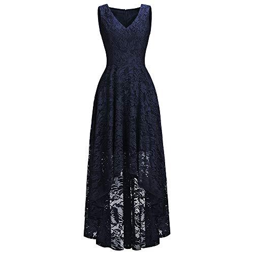 MisShow Damen Abendkleider Maxilang Frauen Plus Size Kleid Abend Cocktailkleider Lange Maxi-Kleid Abikleid Navyblau US22W