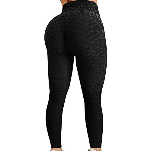 Loalirando Pantaloni da Yoga da Donna Sport a Vita Alta Butt Scrunch Push Up Leggings Fitness Tinta Unita Stretch Palestra Sport Pantaloni da Corsa per Donna (Nero, L)