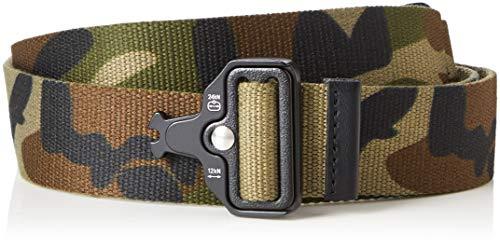 Marca Amazon - find. Cinturón Estilo Militar Hombre, Pack de 2, Multicolor (Black/Camo), L, Label: L