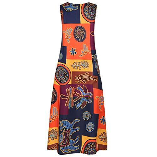 Vestido de Talla Grande Africana para Mujer Maxi Vestido sin Mangas Diario Informal sin Mangas de Bohemia con Cuello en V Amarillo XL