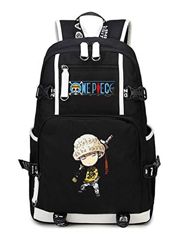 WANHONGYUE One Piece Trafalgar Law Anime Backpack Schüler Schultasche Laptop Rucksäcke Freizeittasche Daypack Schwarz-10