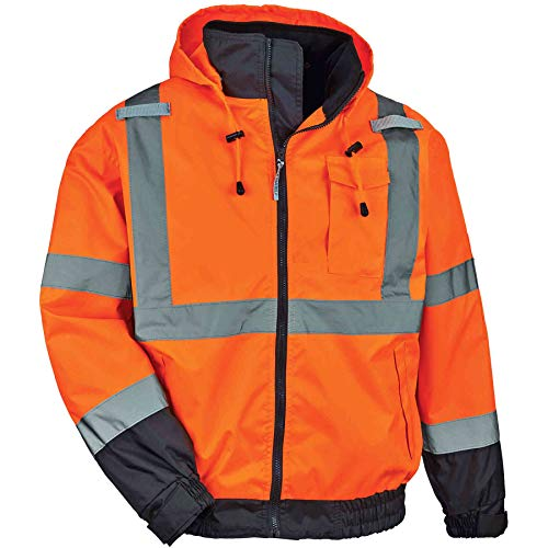 High Visibility Reflective Winter Bomber Jacket, Zip Out Fleece Liner, ANSI Compliant, Ergodyne GloWear 8379, Orange, XX-Large