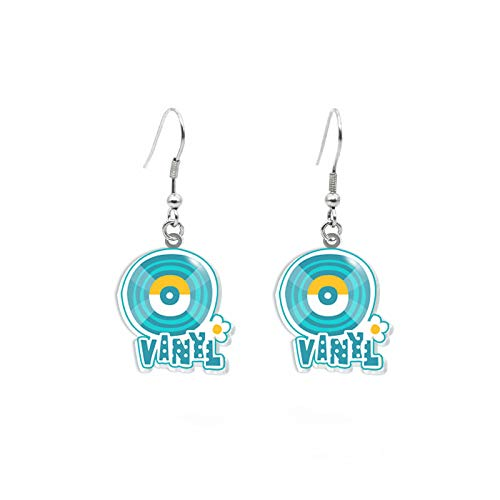 Fashion Dangle Earrings Hippie Style Bus Guitar Radio Record Peace And Love Sign Epoxy Acrylic Resin Fish Hook Earrings 5