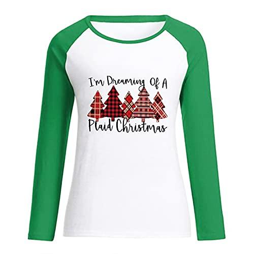 Trendige Oberteile Damen T Shirt mit Weihnachtsbaum Karo Print Pullover mit farblich passenden Nähten Tunika mit O Ausschnitt und Langen Ärmeln Basic All Match Bluse Liebhaber