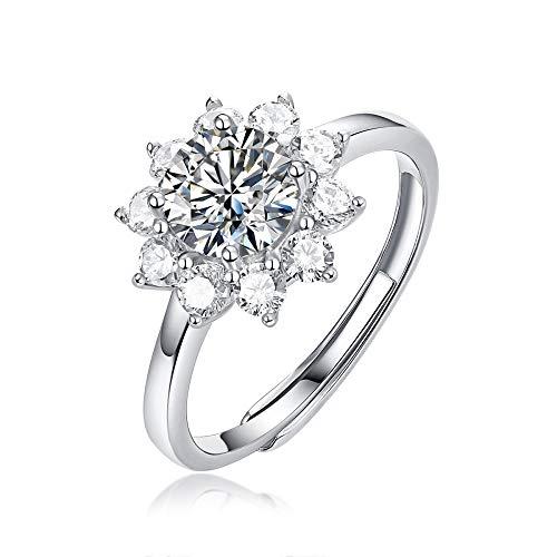 JIARU Anillo de plata de ley 925 para mujer, anillo de corazón simple y abierto y anillo de boda de moissanita de 1 quilate para niña anillo de regalo