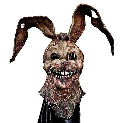 Vssictor Máscara de espantapájaros de miedo, cubierta de cara de Halloween espeluznante máscara de terror máscara de cabeza completa de Halloween Costumn para fiesta disfraz de cosplay Props - conejo