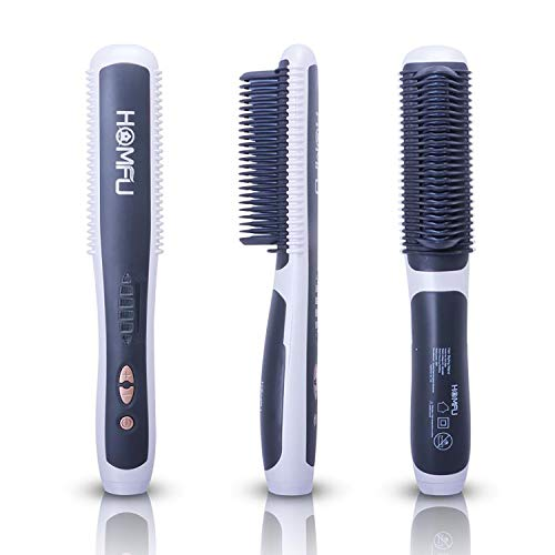 Homfu Hair Straightener Brush - Hair Straightening Iron with Built-in Comb, 6 Heat Levels for Frizz-Free Silky Hair, 30s Fast Heating & Anti-Scald,Perfect for Professional Salon at Home
