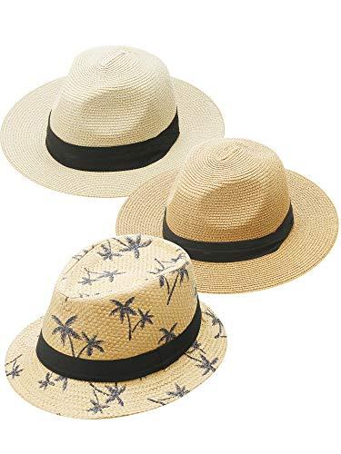 3 Piezas Sombreros de Paja Panamá Sombrero de Paja de ala Ancha de Viaje Plegable Sombrero de Sol de Playa Unisexo para Hombres, Mujeres